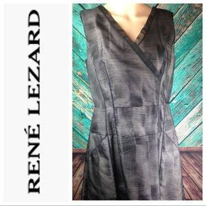 Rene Lezard Sheer Striped Dress